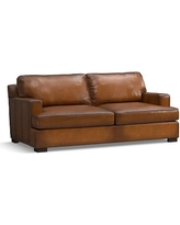 Townsend Square Arm Leather Loveseat, Polyester Wrapped Cushions, Leather Burnished Bourbon