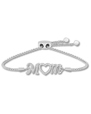 "Kay ""Mom"" Lab-Created White Sapphire Bolo Bracelet Sterling Silver"