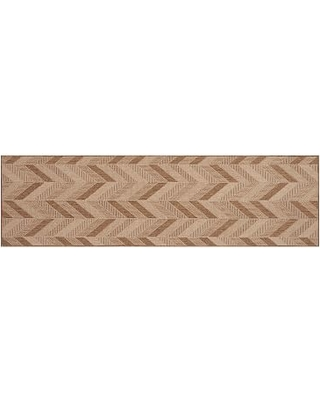 Michelle Chevron Synthetic Rug, 2.5 x 9', Earth/Natural