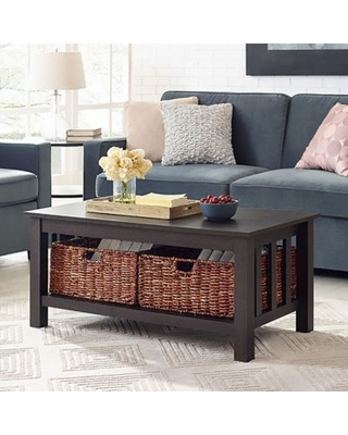 Forest Gate™ 40-Inch Contemporary Wood Coffee Table with Totes in Espresso