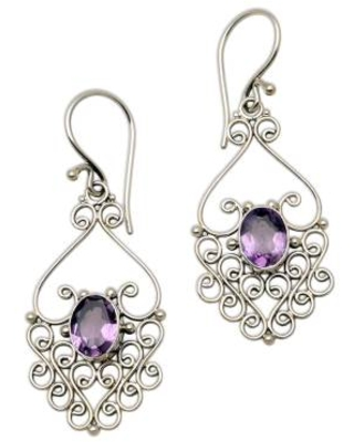 Hand Crafted Sterling Silver and Amethyst Earrings