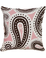 123 Creations Paisley Needlepoint Wool Throw Pillow C8.18x18 Color: Pink and Brown