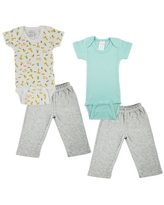 Bambini Mix N Match Short Sleeve Bodysuits & Track Sweatpants Outfit Sets, 4pc (Baby Boys or Baby Girls, Unisex)