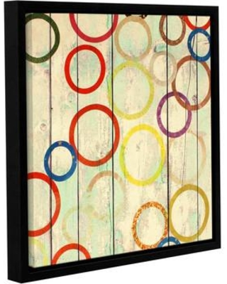 "Latitude Run Rainbow Circles IV 2 Framed Painting Print on Wrapped Canvas LTRN5264 Size: 24"" H x 24"" W x 2"" D"