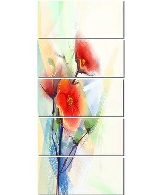 Design Art 'Red Poppy Flowers on Grunge Back' 5 Piece Painting Print on Wrapped Canvas Set PT14094-401V