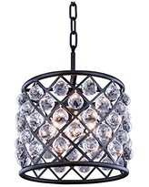 OmniLucent ARCD8MB-3612 Riley Collection Pendant with 1 Light and Clear Crystals 8 x 8 x 15.5 Matte Black Finish