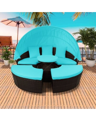 Wide Outdoor Wicker Patio Sofa With Cushions