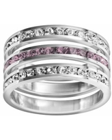 Traditions Sterling Silver Crystal Eternity Ring Set, Women's, Size: 8