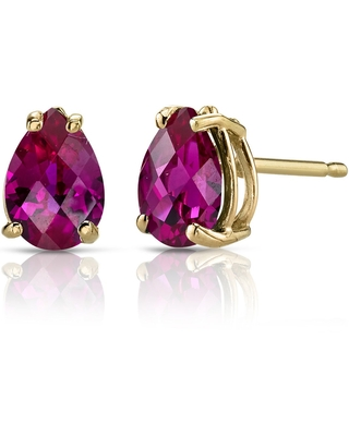 Oravo 14k Yellow Gold 2ct TGW Created Ruby Pear Shape Stud Earrings (Ruby)