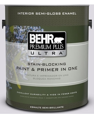 BEHR Premium Plus Ultra 1 gal. #PR-W01 Mystical Mist Semi-Gloss Enamel Interior Paint and Primer in One