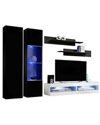 Fly A5 34TV Wall Mounted Floating Modern Entertainment Center (Black/White)