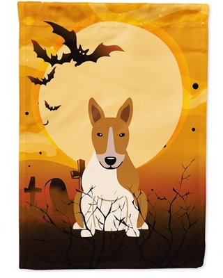 Halloween Bull Terrier Red White Flag Canvas House Size