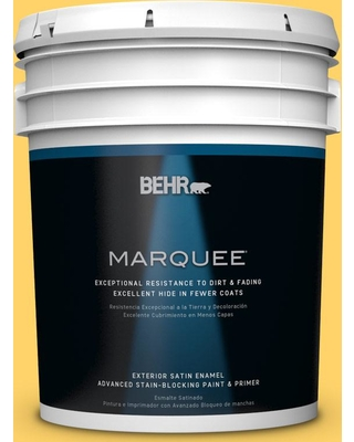 BEHR MARQUEE 5 gal. #P290-5 Squash Blossom Satin Enamel Exterior Paint and Primer in One