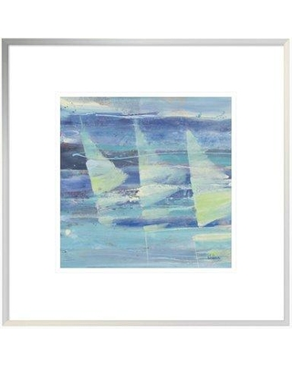 """East Urban Home 'Summer Sail I' Print EUHE2065 Size: 17.6"""" H x 17.6"""" W Format: White Framed Canvas Matte Color: White"""