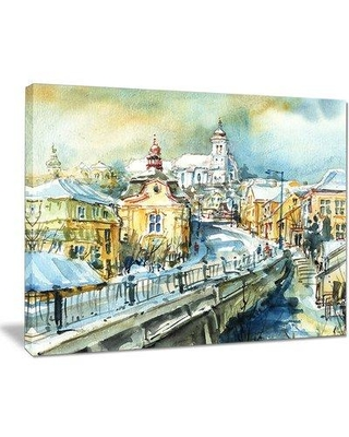 """Design Art 'City of Churches' Painting Print on Wrapped Canvas PT8587- Size: 20"""" H x 40"""" W x 1"""" D"""