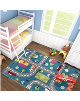 """Zoomie Kids Howton Abstract Blue/Gray Area Rug, Polypropylene in Blue/Gray/Silver, Size Rectangle 6'3"""" x 9'3"""" 