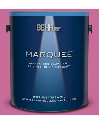 BEHR MARQUEE 1 gal. #100B-6 Fuchsia Kiss Satin Enamel Interior Paint and Primer in One