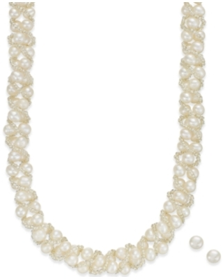Cultured Freshwater Pearl Necklace (4mm pearls) and Stud Earrings (6mm pearls)) Set in Sterling Silver