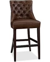 """Hayes Tufted Leather Bar Height Barstool 48.25"""", Leather Statesville Caramel"""