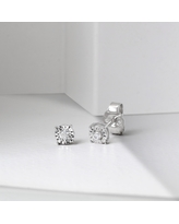 Diamond Stud Earrings in Silver by DeCouer 1/20ct (HI I2) (White H-I - White)