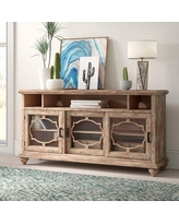 """Ophelia & Co. Lederman TV Stand for TVs up to 70"""", Wood/Glass in Brown/Beige, Size 34""""H X 64""""W X 18""""D 