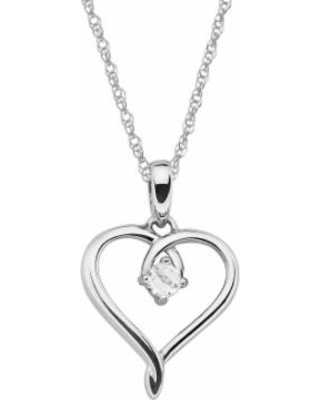 """Sterling Silver Lab-Created White Sapphire Openwork Heart Pendant, Women's, Size: 18"""""""