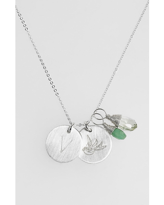 Women's Nashelle Green Amethyst Initial & Swallow Sterling Silver Disc Necklace