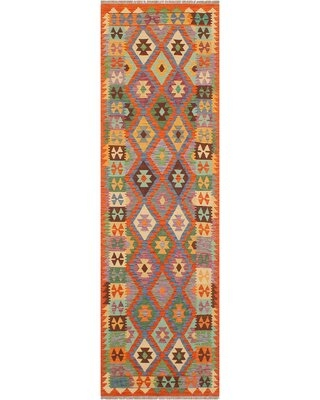 """One-of-a-Kind Ceporah Hand-Knotted 1990s 2'8"""" x 9'9"""" Runner Wool Area Rug in Rust/Blue"""