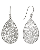 Silver Reflections Silver Plated Filigree Pear-Shaped Drop Earrings, One Size , No Color Family