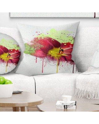 "East Urban Home Floral Lily with Paint Splashes Pillow FUSI4957 Size: 16"" x 16"" Product Type: Throw Pillow"