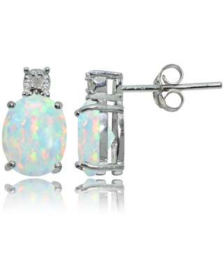 Glitzy Rocks Sterling Silver Created White Opal and Diamond Accent Oval Drop Stud Earrings (Created Opal)