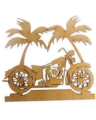 Personalized Motorcycle Ornament, Palm Tree - Motorcycle Christmas Ornament - Biker Gifts - Personalized Motorcycle Gifts