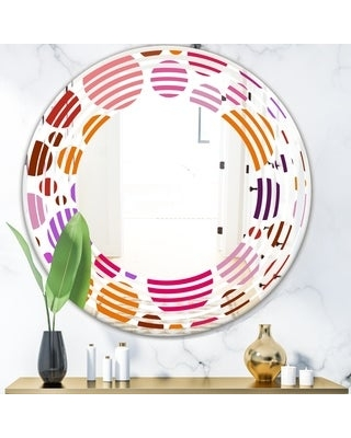Designart 'Abstract Geometric Circular Retro II' Modern Round or Oval Wall Mirror - Wave (Round - 24 in. wide x 24 in. high)