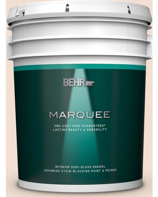 BEHR MARQUEE 5 gal. #W-F-110 Chamois Cloth Semi-Gloss Enamel Interior Paint and Primer in One