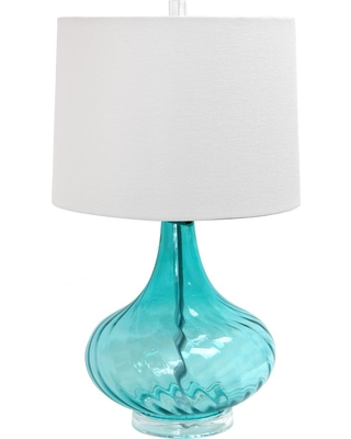 Elegant Designs 24 in. Light Blue Glass Table Lamp with Fabric Shade