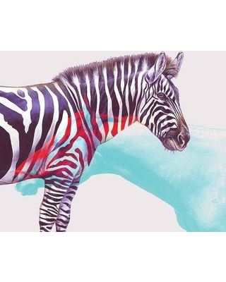 """East Urban Home 'Horse And Zebra' Graphic Art Print on Wrapped Canvas UBNH9978 Size: 12"""" H x 12"""" W x 0.75"""" D"""