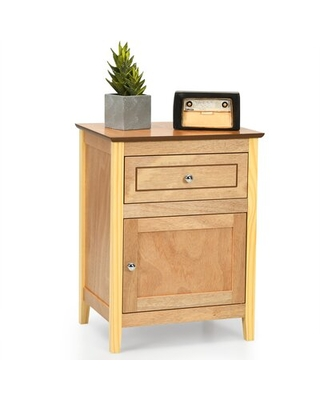 Red Barrel Studio® Nightstand With Drawer Accent Side End Table Storage Cabinet White