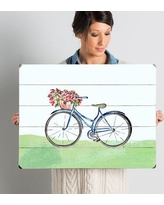 """August Grove 'Spring Bicycle' Wall Art Plaque AGGR6204 Size: 18"""" H x 24"""" W"""