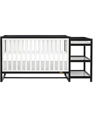 Dream On Me Milo 5-in-1 Convertible Crib & Changing Table with Free Changing Pad in Black and White