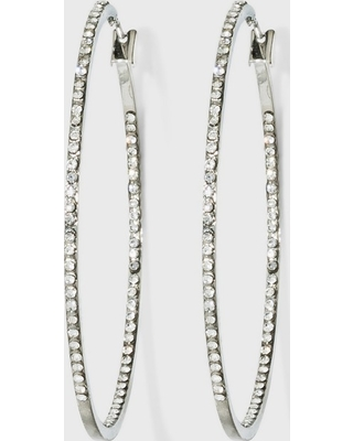 Hoop with Pave Stones Earrings - A New Day Silver, Women's