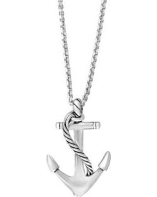 Effy Silver Men's Sterling Silver Anchor Pendant Necklace