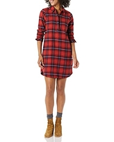 Amazon Brand - Goodthreads Women's Flannel Long Sleeve Relaxed Fit Popover Shirt Dress, Red Scottish Plaid, Medium