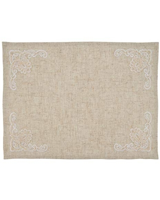 """SARO LIFESTYLE Valentina Collection Embroidered Design Placemats (Set of 4), 14""""x20"""", Natural"""