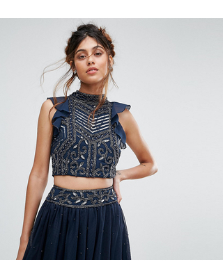 b6f073fec16c32 Huge Deal on Lace & Beads Embellished Crop Top With Frill Sleeve - Navy