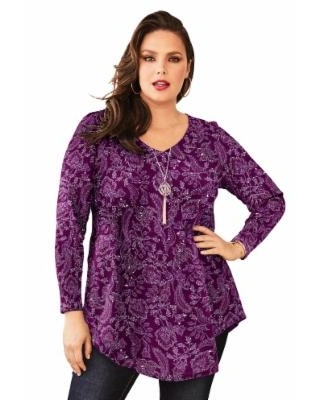 Plus Size Women's V-Neck Thermal Maxi Tunic by Roaman's in Berry Folk Paisley Print (Size 26/28)