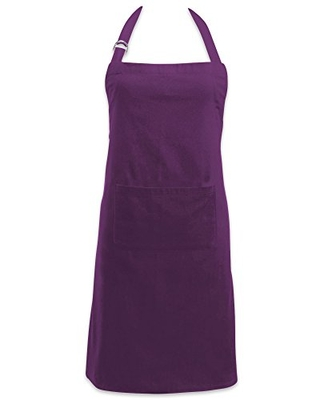 DII Adjustable Neck & Waist Ties with Front Pocket, 32x28 Apron Chino Chef Collection, Eggplant