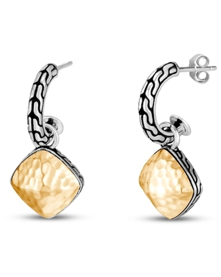 Jared John Hardy Classic Chain Hammered Drop Earrings Sterling Silver 18K Yellow Gold