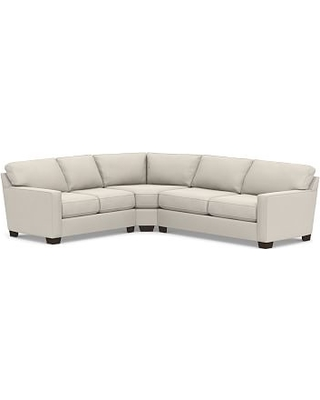 Buchanan Square Arm Upholstered Right Arm 3-Piece L-Shaped Wedge Sleeper Sectional, Polyester Wrapped Cushions, Performance Everydaysuede(TM) Stone