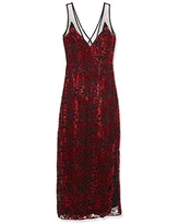 Lucca Couture Women's Penelope V Neck Mesh Inset Maxi Dress, red Velvet Floral, Small