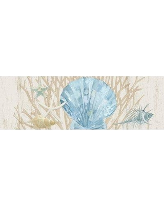 "Highland Dunes 'Seaside Shells and Coral II' Graphic Art Print on Canvas BF125768 Size: 12"" H x 36"" W x 0.5"" D"